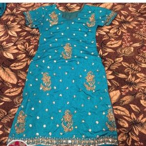 Teal blue green Indian outfit